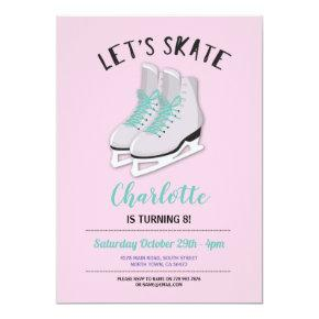 Let's Skate Girls Pink Ice-Skating Birthday Party Invitation