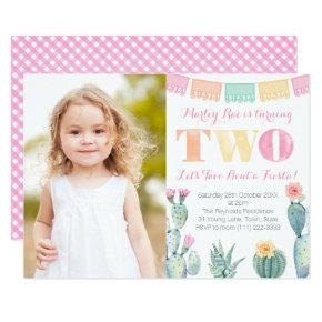 Let's Taco Bout a Fiesta Girl 2nd Birthday Party Invitation