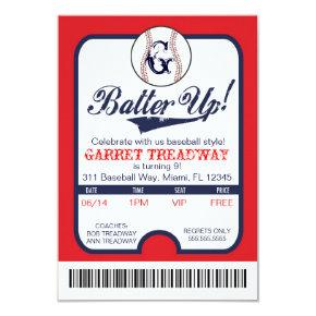 LGC Batter Up Baseball Ticket Celebration/Birthday Invitations