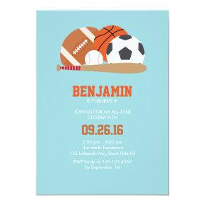 Light Blue All Star Sports Birthday Party Invitation