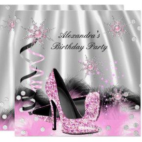 Light Pink High Heels Silver Birthday Party Invitations