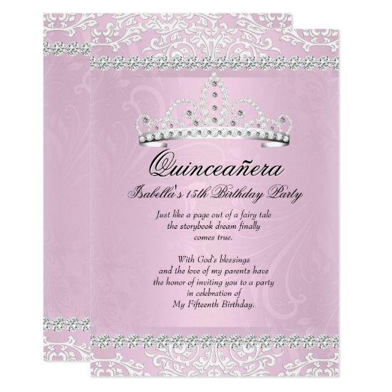 Light pink quinceanera 15th birthday party tiara invitations light pink quinceanera 15th birthday party tiara invitations filmwisefo
