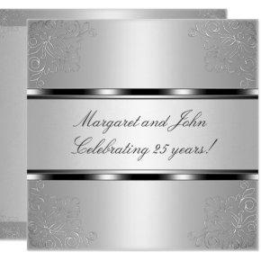 Light Silver Floral 25th Anniversary Party Event Invitations