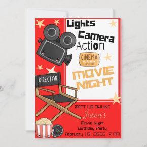 Lights Camera Action Birthday Invitation