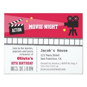 Lights Camera Action Movie Night Birthday Party Invitations