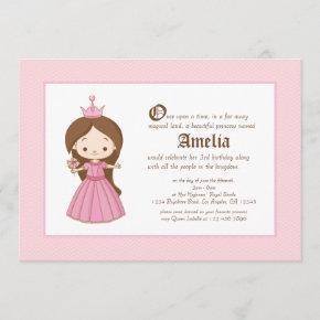 Li'l Brunette Princess Royal Birthday Invitation