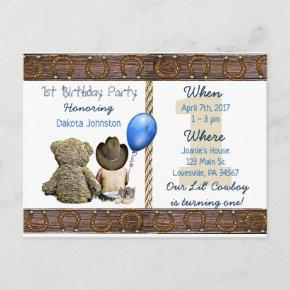 Lil Cowboy Baby Boy and Teddy Bear 1st Birthday Invitation Post
