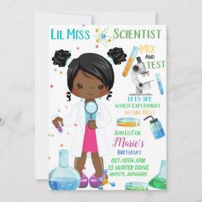 Lil Miss Scientist Birthday Invitation