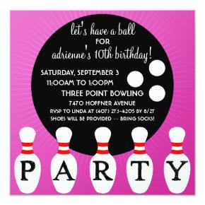 Lilac Pin Party Bowling Birthday Party Invitation