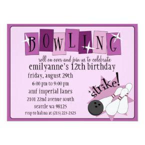 Lilac & Plum Purple Totally Retro Bowling Birthday Invitation