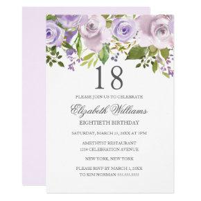 Lilac Purple Watercolor Floral 18th Birthday Invitation
