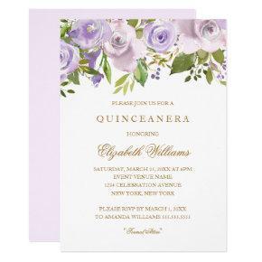 Lilac Purple Watercolor Floral Quinceanera Invite