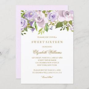 Lilac Purple Watercolor Floral Sweet Sixteen Invitation