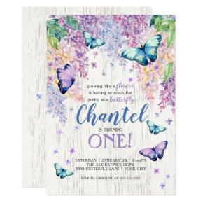 Lilacs and Butterfly | Birthday Invitation