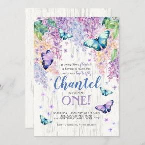 Lilacs and Butterfly   Birthday Invitation