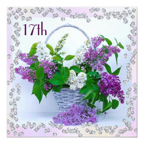 Lilacs Diamonds 17th Birthday Card Candied Clouds
