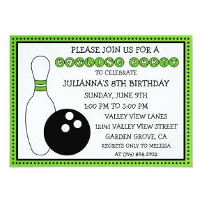 Lime Green Party Down the Lane Bowling Party Invitation