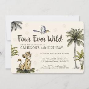 Lion King Four Ever Wild Birthday Invitation