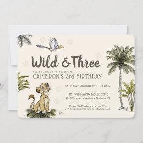 Lion King Wild and Three Birthday Invitation
