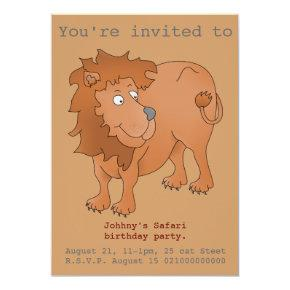 Lion safari party invite