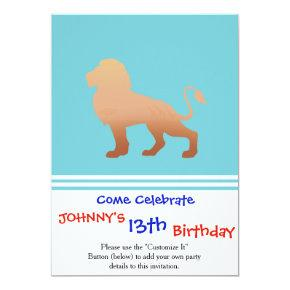 Lion walking silhouette invitation
