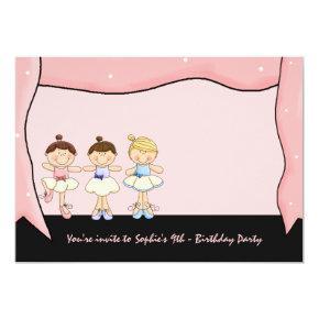 Little 3 Ballerinas' Recital Birthday Invitations