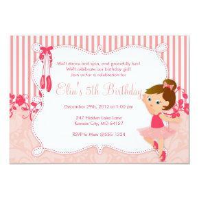 Little Ballerina birthday Invitations - version 4