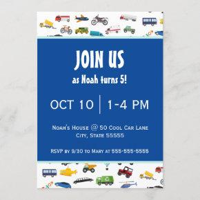 Little Boy Cars Vehicle Pattern Kid Birthday Party Invitation