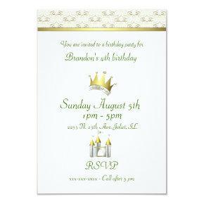 Little Boy Prince Birthday Invitation