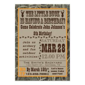Little Buck Hunting Birthday Invitations with Camo