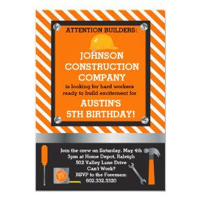 Little Builder Construction & Tools Birthday Party Invitation