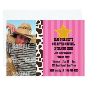 Little Cowgirl Birthday Party Card