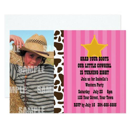 Little Cowgirl Birthday Party Invitations Candied Clouds