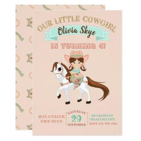 Little Cowgirl on Horse Girls Birthday Invitation