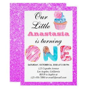 Little Cupcake Purple Glitter 1st Birthday One Invitation