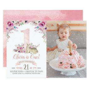 Little Deer First Birthday Party Photo Invitations