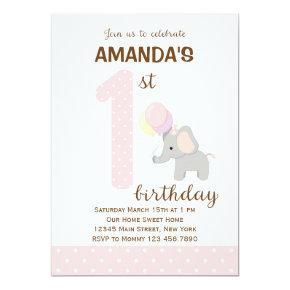 Little Elephant First Birthday Invitation (Pink)