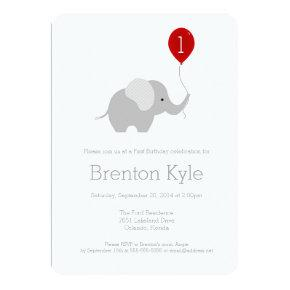 Little Elephant with Balloon Birthday Invitations
