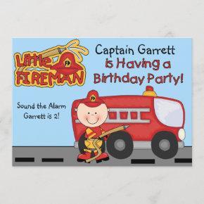 Little Fireman Custom Fire Truck Birthday Invitation
