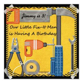 Little Fix-It Man Custom Birthday Invitations