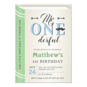 Little Gentleman Mr Onederful 1st First Birthday Invitation