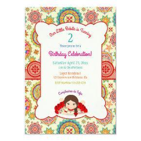 Little Girl Spanish Dress Colorful Card