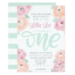 Little girl's 1st birthday party flower Invitations