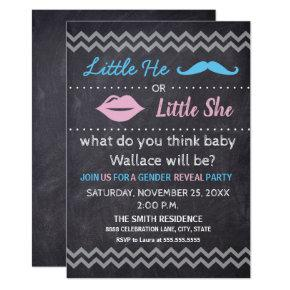 Little He Little She Lips Mustache Gender reveal Invitation