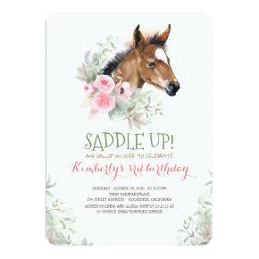 Little Horse Pink Floral Birthday Invitation