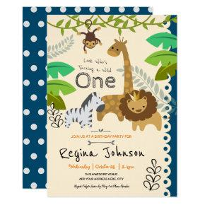 Little Jungle Animals 1st Birthday Invitation