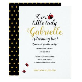 little lady bug BIRTHDAY PARTY red Invitation