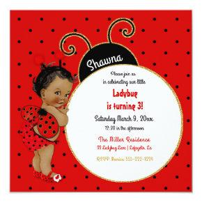 Little Ladybug African American Girl Red Black Invitations