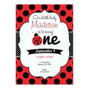 Little Ladybug First Birthday Polka Dot Invitation