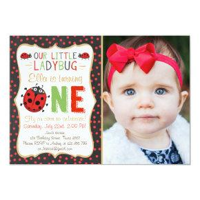 Little Ladybug Red Black White Birthday Invitation